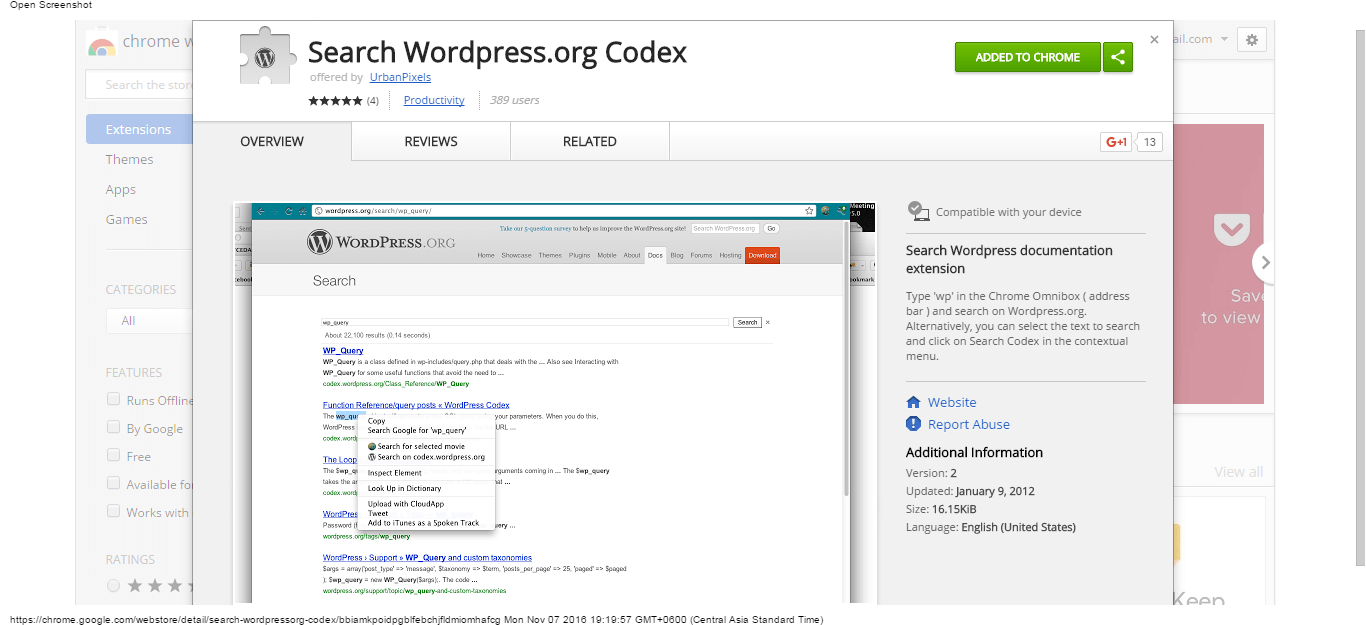 search-wordpress-org-codex-chrome-web-store