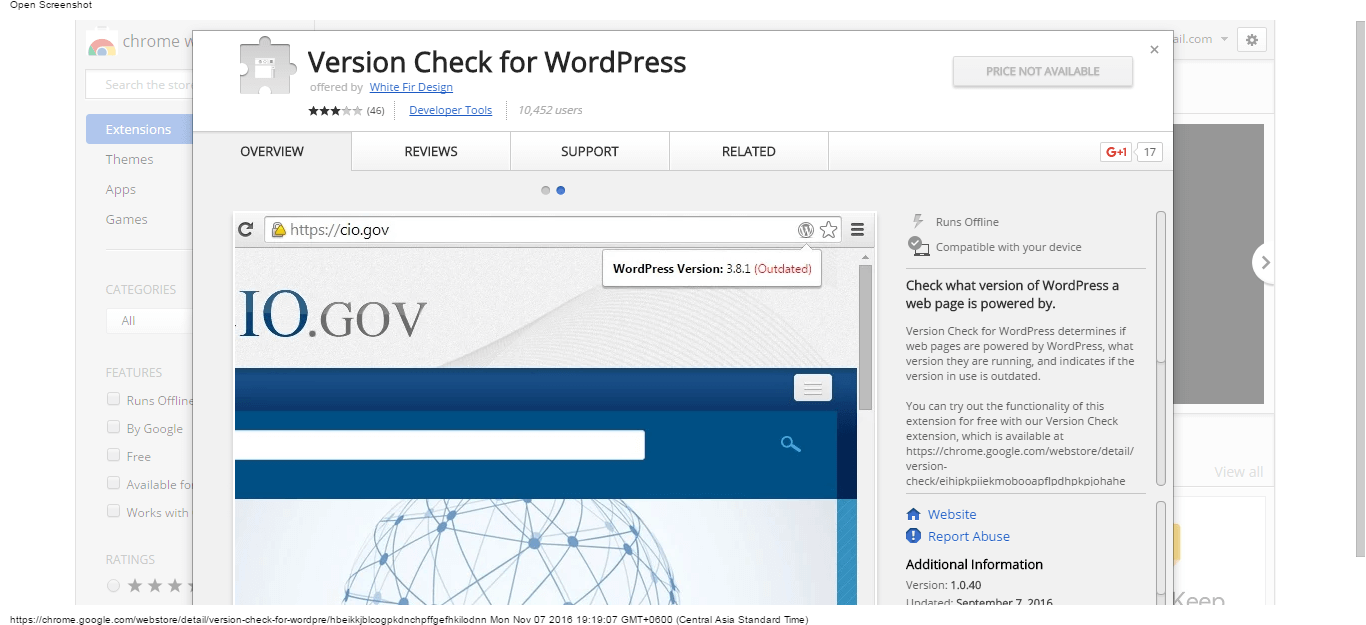 version-check-for-wordpress-chrome-web-store