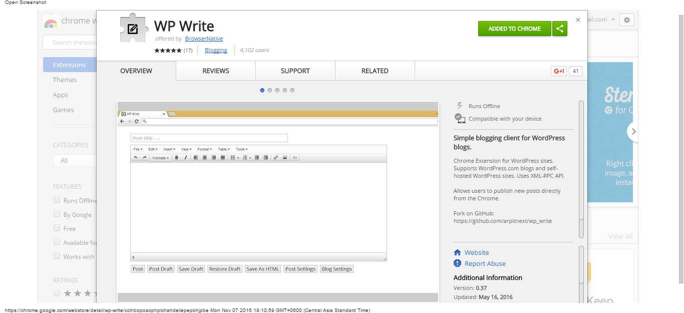 wp-write-chrome-web-store