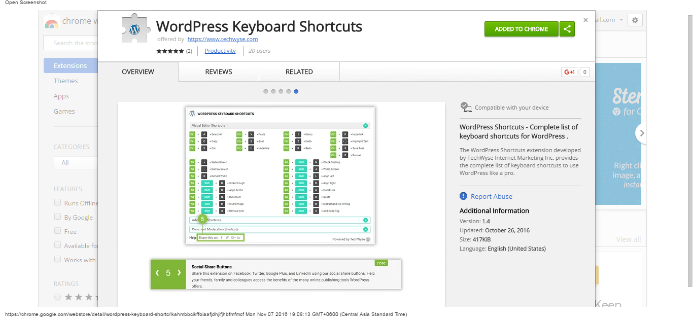 wordpress-keyboard-shortcuts-chrome-web-store