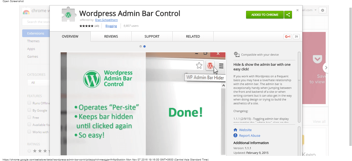wordpress-admin-bar-control-chrome-web-store