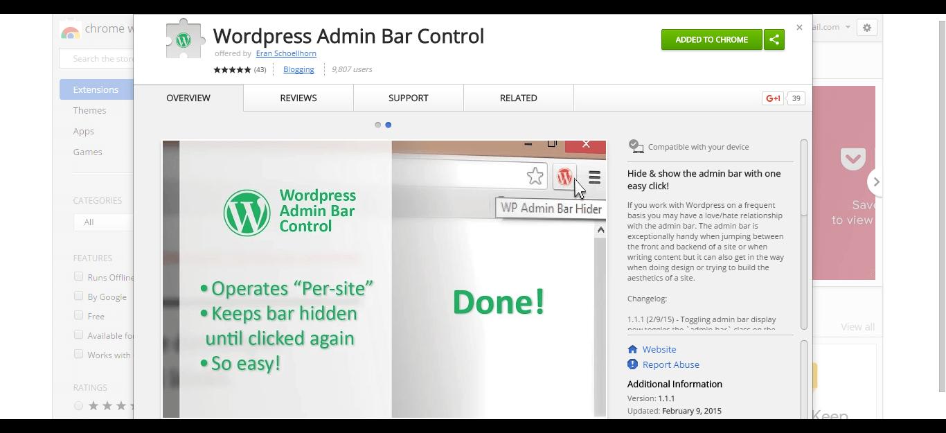wordpress-admin-bar-control-chrome-web-store
