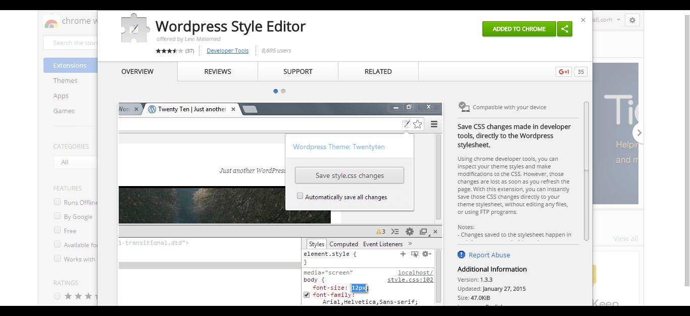 wordpress-style-editor-chrome-web-store