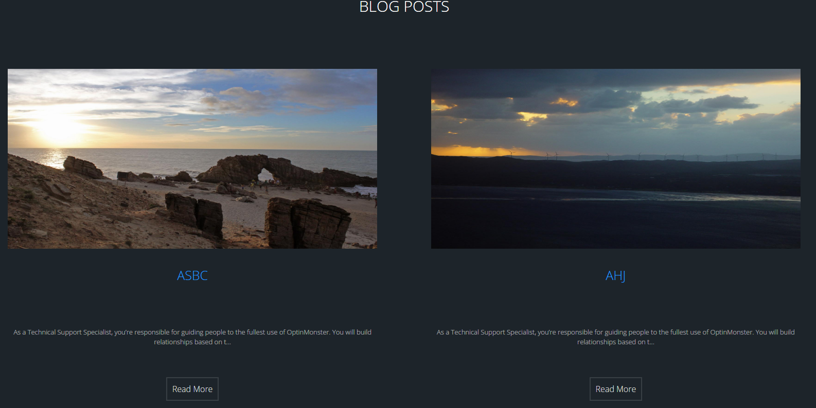 2 Side by Side Posts with Post Image, Post Title, Excerpt and a Read More Button