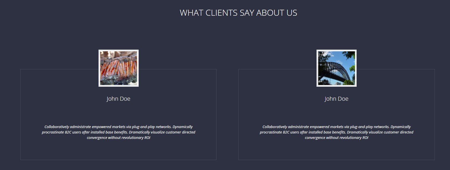 H3 Text, Two Client Image, Client Name and Testimonials
