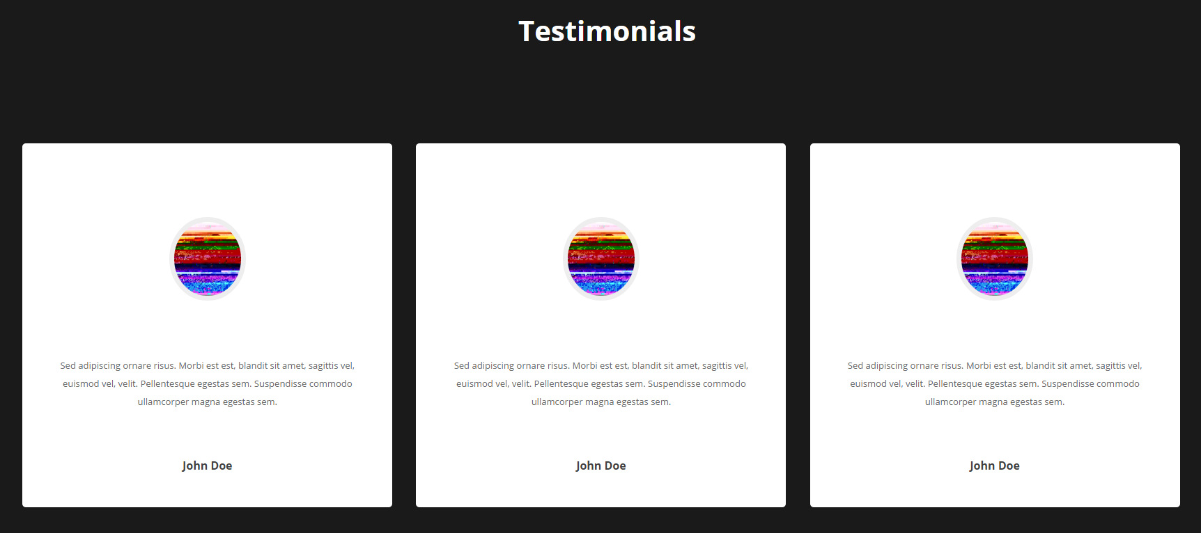 H3 Text, Three Client Image,Testimonials and Client Name