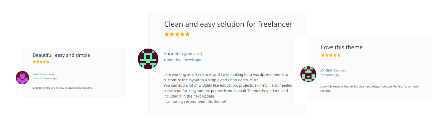 Resumee wordpress theme customer positive reviews
