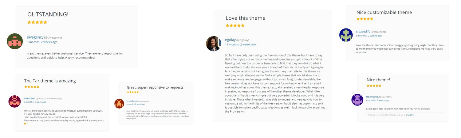 Tar WordPress customer positive reviews