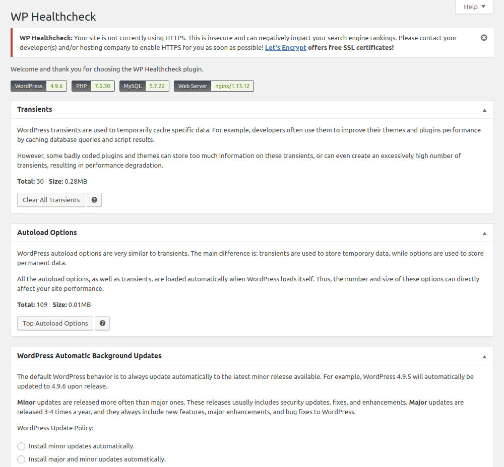 WP HealthCheck - p3 plugin alternative