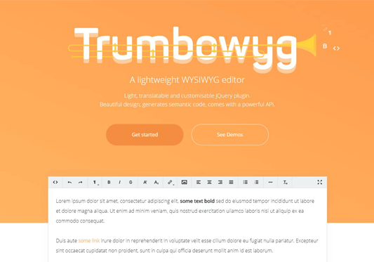 Resumee theme feature trumbowyg editor