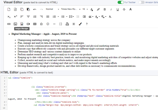 Resumee theme feature html code editor to visual editor