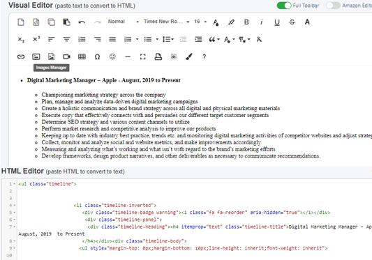 Resumee theme feature html code editor to visual editor
